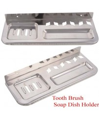 Heavy Duty Classic Square Toothbrush and Soap Dish Holder